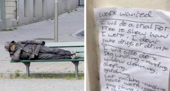 Un senzatetto in cerca di lavoro scrive un biglietto disperato: una ragazza lo pubblica e gli permette di cambiare vita