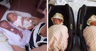 När de ser de nyfödda tvillingarna blir de entusiastiska, men sedan säger läkaren Jag är ledsen...