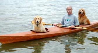 Een man bouwt een speciale kajak om met zijn honden te reizen: hun vriendschap is ontroerend