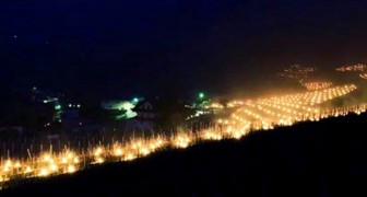 Migliaia di candele per riscaldare i vigneti dell'Alto Adige durante il freddo record: la panoramica è mozzafiato