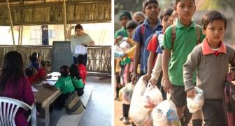 In questa scuola gli studenti meno fortunati possono pagare le lezioni con rifiuti di plastica al posto dei soldi