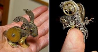 Cette artiste réalise de petites mais merveilleuses sculptures à partir de pièces d'horloges anciennes