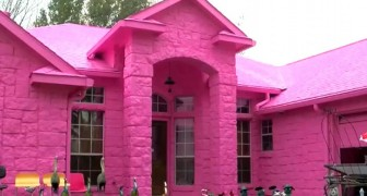 A man completely paints his house bright pink, but his neighbors find it very difficult to accept!