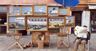 Banksy si intrufola alla Biennale ed espone a Piazza San Marco, ma i vigili lo cacciano: ecco il video surreale