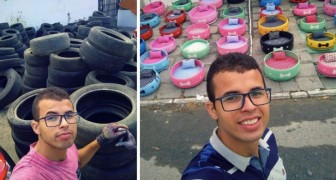 This young man has upcycled hundreds of old rubber tires creating beautiful beds for stray animals