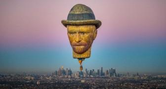 Un autoritratto in mongolfiera: le spettacolari immagini del pallone con il volto di Van Gogh