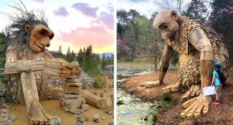 Deze kunstenaar heeft sculpturen verstopt in het bos gemaakt om bezoekers bewust te maken van het thema recycling