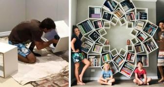 Marito e moglie creano una libreria fai-da-te così pazzesca da far invidia a tutto il vicinato