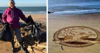 Una anciana señora de 70 años ha limpiado en un año 52 playas de basura de plástico