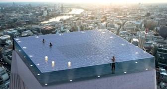 In Londen het eerste oneindige zwembad met een 360 graden panorama: de beelden van het project zijn adembenemend