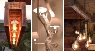 14 meravigliose idee per realizzare un lampadario in legno fai-da-te: ce ne sono per tutti i gusti!