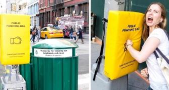 In Manhattan haben sie Boxsäcke installiert, um ihre unterdrückte Frustration zu lindern