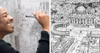 Questo ragazzo autistico riesce a disegnare intere città a memoria e le sue opere hanno dell'incredibile