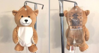 A 12-year-old girl invents Medi Teddy that hides an IV bag and helps to calm young hospital patients