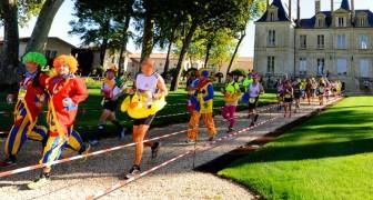 In Frankreich gibt es einen Marathon, bei dem Sportler Käse essen und Wein trinken