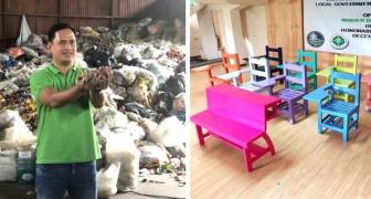 Cet ingénieur sauve des arbres en produisant des chaises et des pupitres d'école avec du plastique recyclé