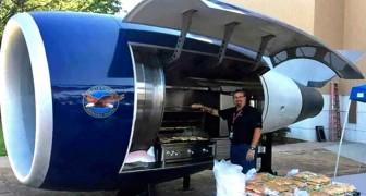 Alcuni ingegneri trasformano il motore di un Boeing 757 in un gigantesco barbecue