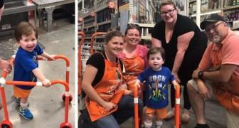 Hon kommer in i affären och säger att hon ska bygga en gåstol till sin son och de ber henne komma tillbaka om en timme