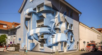 Questo artista italiano combina graffiti ed illusioni ottiche: impossibile comprendere le sue opere ad una prima occhiata