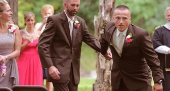 The bride's father stops the wedding ceremony so that her stepfather can also accompany her to the altar
