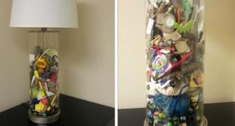 Esta mãe fez um abajur com todos os objetos do filho recolhidos dentro da máquina de lavar roupas durante anos