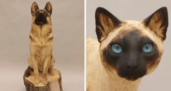 Dieser Künstler verwandelt Holzstämme in realistische Tiere: Die Bilder scheinen lebendig zu werden