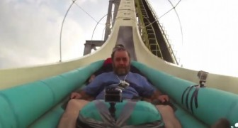 The thrill of launching down from the highest water slide in the world