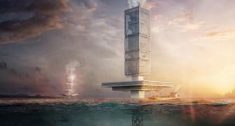Een drijvende wolkenkrabber om de zeeën van afval te bevrijden en energie te produceren: het briljante idee van een architect