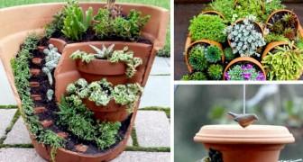 Il vostro giardino diventerà un luogo magico grazie al riciclo fantasioso dei vostri vasi di coccio