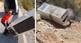 A man gets rid of a refrigerator by throwing it over a cliff! The police track him down and make him recover it!