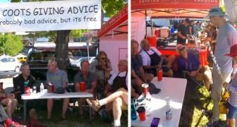 In questo mercato c'è un banco speciale in cui gli anziani danno consigli ai più giovani