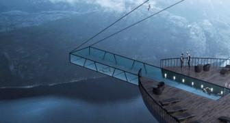 Ein Hotel mit Swimmingpool mit Blick auf den norwegischen Fjord: Das ist das eindrucksvolle Projekt dieses Architekten