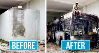 Der Straßenkünstler erweckt dekadente Stadträume mit Sprühfarbe und Kreativität zum Leben