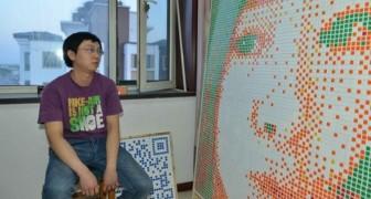 Realiza um gigantesco retrato da garota que ama com 840 cubos de Rubik, mas ela diz não igual