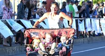 Questa super-mamma ha corso per oltre 3 ore spingendo un passeggino triplo da 85 kg!