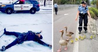 11 grappige foto's die de zachte kant van politieagenten tonen