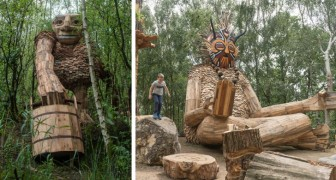 Trolls nascosti nella foresta: le gigantesche sculture di questo artista sensibilizzano sul tema del riciclo