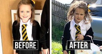 Before and after! 20 hilarious photos of children on their first day of school after summer vacation!