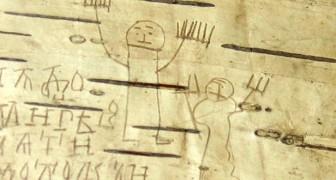 Die Zeichnungen von Onfim, dem Kind aus dem 13. Jahrhundert, das über die Birkenrinde schrieb
