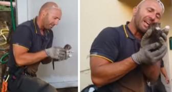 Der Feuerwehrmann rettet gefangene Kätzchen, kann aber die Tränen nicht zurückhalten: Das Video wird viral