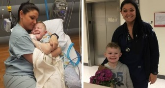 A 5-year-old boy wakes up alone and scared after his operation and the nurse hugs him like a son