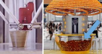Deze machine drukt bekers in biokunststof met de schil van sinaasappels en gebruikt ze om het sap te serveren