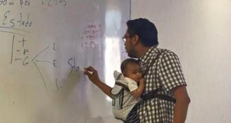 Deze dprofessor heeft aangeboden om voor het zoontje van een student te zorgen zodat ze de les kan volgen