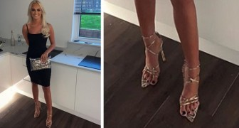 She complains about her uncomfortable new high heel shoes all night but later discovers she was wearing them on the wrong feet