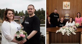 They get married in jeans and a t-shirt to show that weddings do not have to be expensive