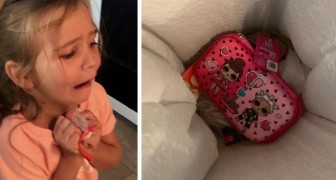 A little girl throws her new pencil case in the trash can and her mother punishes her in an exemplary manner