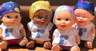 These dolls wearing scarves and beanies help children with cancer to find their smile again