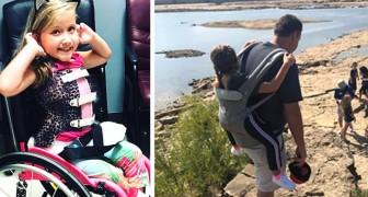 Een leraar draagt zijn gehandicapte studente op zijn schouders om haar mee te nemen op schoolreisje