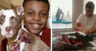 Questo ragazzino di 12 anni realizza papillon per animali senza casa per aumentare le loro possibilità di adozione
