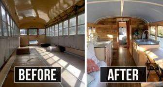 Questa donna trasforma gli scuolabus in piccole case per aiutare le persone senzatetto